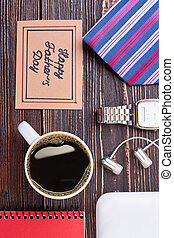 Coffee cup and greeting card.