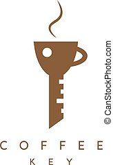 coffee cup and key vector design template