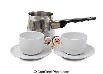 Coffee cup and metal pots on white