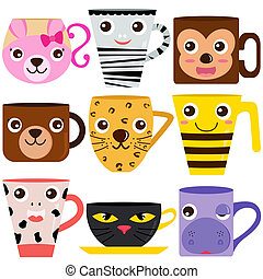 Coffee Cup and Mug Animals - Vector collection of Coffee Cup...