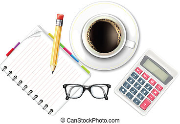 Coffee Cup and Notebook Calculator