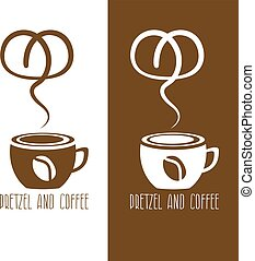 coffee cup and pretzel vector design template