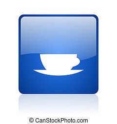 coffee cup blue square glossy web icon on white background