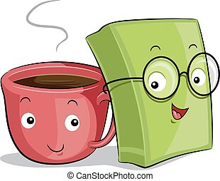 Coffee Cup Book Mascots - Mascot Illustration of a Cup of...