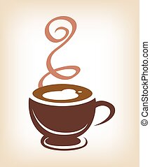 Coffee cup brown on background, illustration