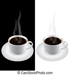 Coffee Cup - Illustration of hot smoking cup of coffee