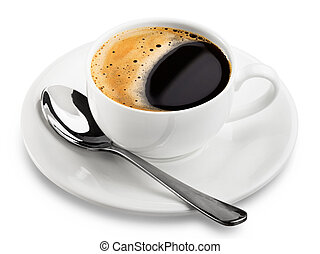 Coffee cup - close up coffee cup on white background. ...