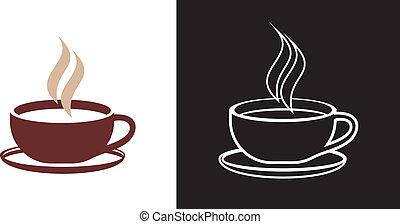 Cup of coffee - vector icon. Outline. Isolated illustration.