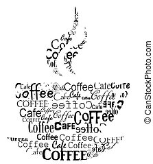 Transparent coffee cup made of various coffee captions. Vector illustration
