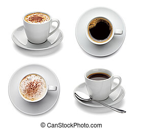 coffee cup drink - collection of various coffee cups on...