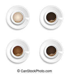 coffee cup drink set illustration
