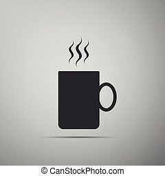 Coffee cup flat icon isolated on grey background. Tea cup. Hot drink coffee. Flat design. Vector Illustration