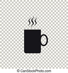 Coffee cup flat icon isolated on transparent background. Tea cup. Hot drink coffee. Flat design. Vector Illustration