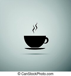 Coffee cup flat icon on grey background. Tea cup. Hot drink coffee. Vector Illustration