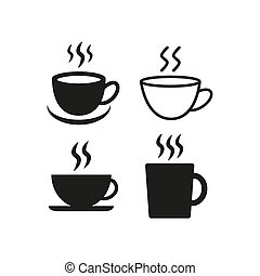 Coffee cup flat icons on white background.