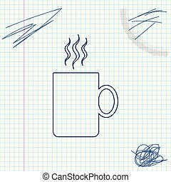 Coffee cup flat line sketch icon isolated on white background. Tea cup. Hot drink coffee. Vector Illustration