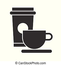 coffee cup, food and beverage set, glyph design icon