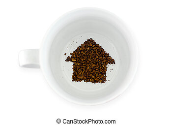 Coffee cup - Fortune telling new home - Coffee grounds in...