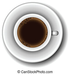 Coffee cup from above - White coffee cup full with coffee...