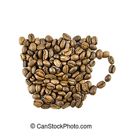 Coffee cup from coffee beans isolated on white