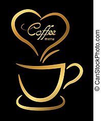 Coffee cup gold on black background, illustration