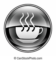 coffee cup icon black, isolated on white background.
