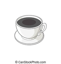Coffee cup icon, black monochrome style