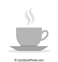 Teapot, cup and saucer icon in brown. Simple monotone icon of a teapot and cup and saucer in ...