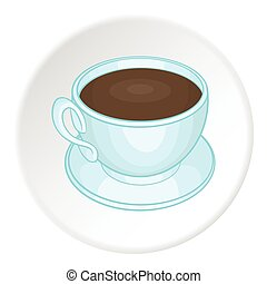 Coffee cup icon, cartoon style