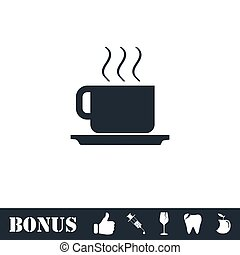 Coffee cup icon flat