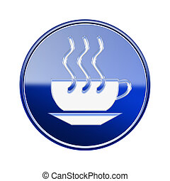 Coffee cup icon glossy blue, isolated on white background