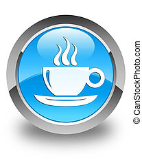 Coffee cup icon glossy cyan blue round button