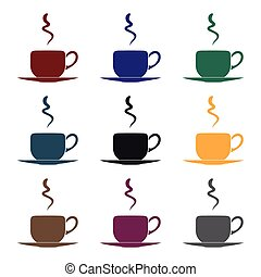 Coffee cup icon in black style isolated on white background. Restaurant symbol stock vector illustration.
