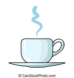 Coffee cup icon in cartoon style isolated on white background. Restaurant symbol stock bitmap, rastr illustration.