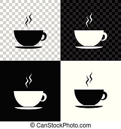 Coffee cup icon isolated on black, white and transparent background. Tea cup. Hot drink coffee. Vector Illustration