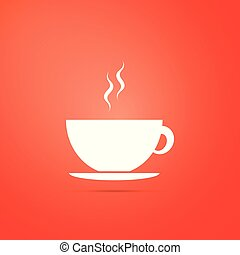 Coffee cup icon isolated on orange background. Tea cup. Hot drink coffee. Flat design. Vector Illustration