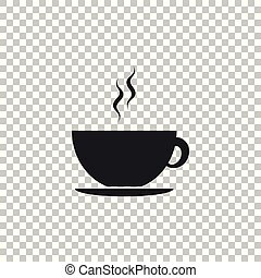 Coffee cup icon isolated on transparent background. Tea cup. Hot drink coffee. Flat design. Vector Illustration
