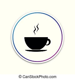 Coffee cup icon isolated on white background. Tea cup. Hot drink coffee. Circle white button. Vector Illustration