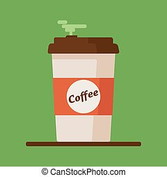 Coffee cup icon with text coffee on green background. Flat vector illustration