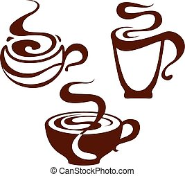 Coffee cup icons, vector illustration