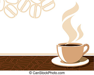 Coffee cup with aroma steam on a background with coffee...