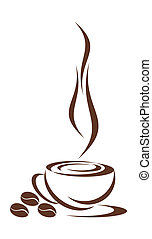In drawing the cup from coffee is represented. Three grains nearby lie. It is all on a white background.