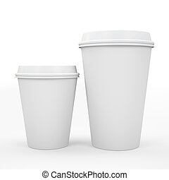 Coffee cup isolated on white background 3D rndering