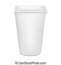 Realistic paper coffee cup isolated