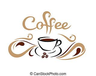 Coffee cup - line art stylish coffee cup illustration...