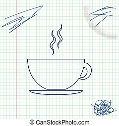 Coffee cup line sketch icon isolated on white background. Tea cup. Hot drink coffee. Vector Illustration