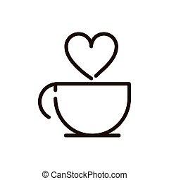 coffee cup love drink traditonal line design