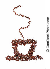 Coffee cup made of beans on white background