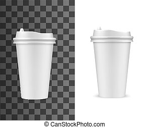Coffee cup mockup, fast food drink paper cup with plastic ...