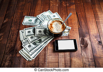 Coffee cup, money and phone